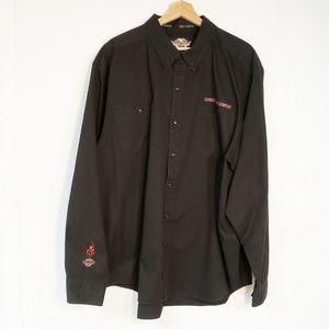 Harley Davidson Button Down Embroidered Shirt 2XL